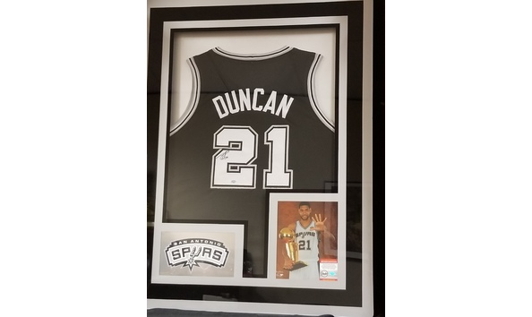 Custom Framed Tim Duncan Autographed & Certified Jersey