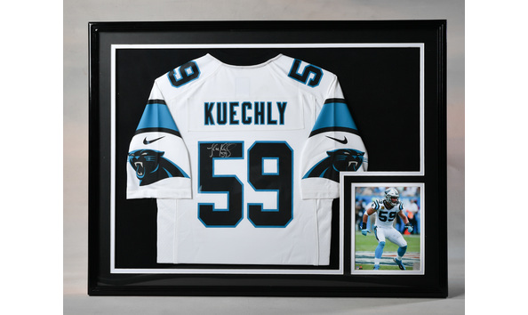 new style d96b2 4694f Luke Kuechly FRAMED Autographed White Nike NFL Jersey