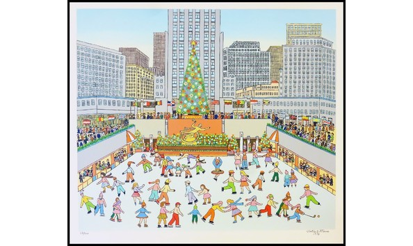 Vestie Davis Rockefeller Plaza NYC At Christmas Time Serigraph 1976