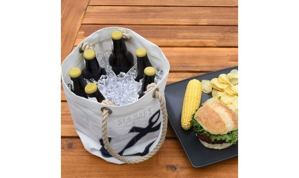 4867947b730 Navy Anchor Beverage Bucket from Sea Bags Maine - Made from recycled ...
