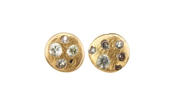 Celeste Disc Studs with Green Sapphires by Polly Wales