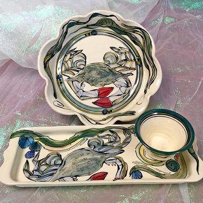 3-Piece Crab  Pottery Set
