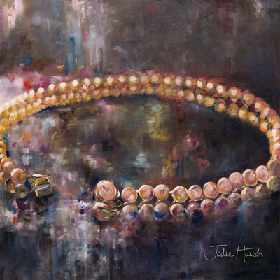 """Jenny's Pearls"" a 30x30"" Jodee Huish ORIGINAL Oil Painting on Canvas"