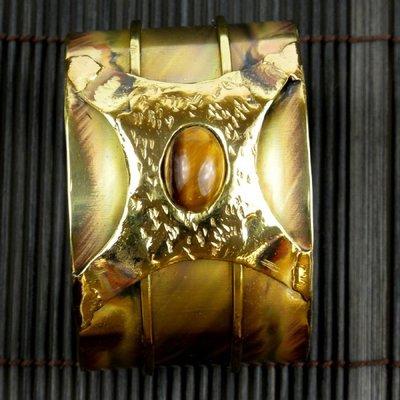 Handcrafted Tiger Eye Strength Cuff Bracelet