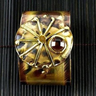 Handmade Brass Cuff With Tiger Eye Color Eye