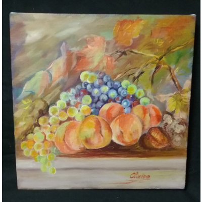 """Peaches and Grapes Still Life"""