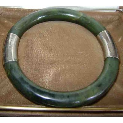 Vintage 50's Jade and Silver Bangle