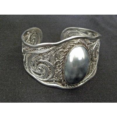 Silver Filigree Cuff with Abalone