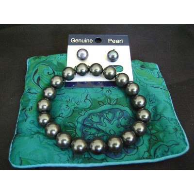 Gray Pearl Expandable Bracelet and Earrings