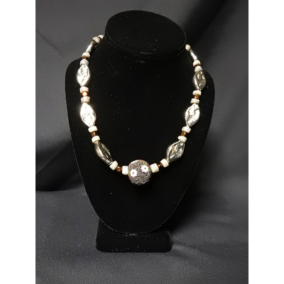 Silver-Toned Oval Bead Necklace
