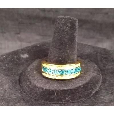 10KT Gold Aquamarine Sapphire Men's Ring