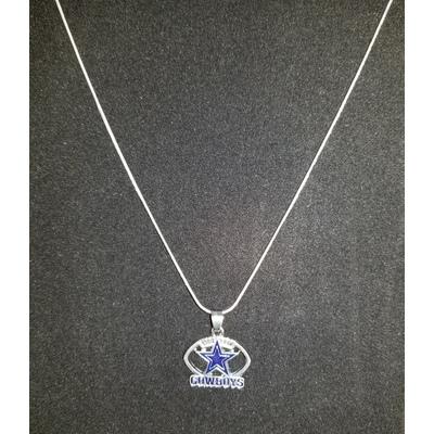 Cowboys Silver Tone Charm Necklace