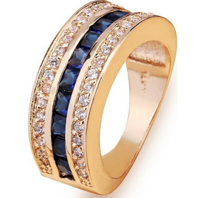 Men's 10KT Yellow Gold Filled Blue Sapphire Ring