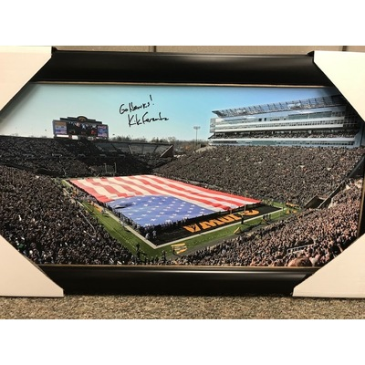 Kirk Ferentz Signed Football Field Picture