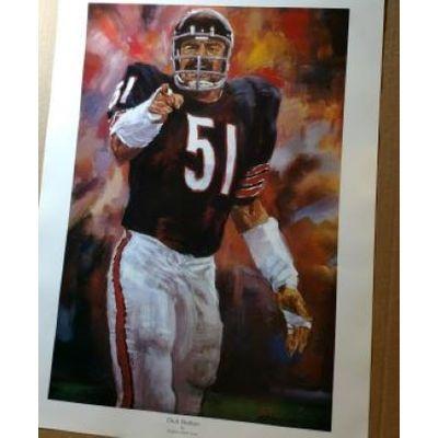 Dick Butkus print, 18x24,  by NFL artist Steve Voita