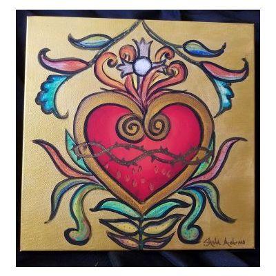 Sacred Hearts – set of original paintings by artist, Sheila Adamo