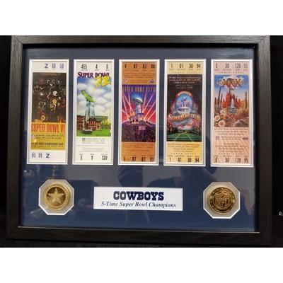 Custom Framed Dallas Cowboys SuperBowl Tickets