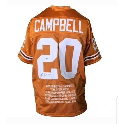 Earl Campbell Autographed & Certified UT Stat Jersey