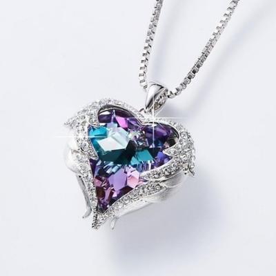Angel Wings heart Pendant Necklace