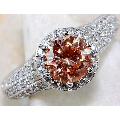 3ct Padparadscha Sapphire & Topaz Sterling Silver Ring