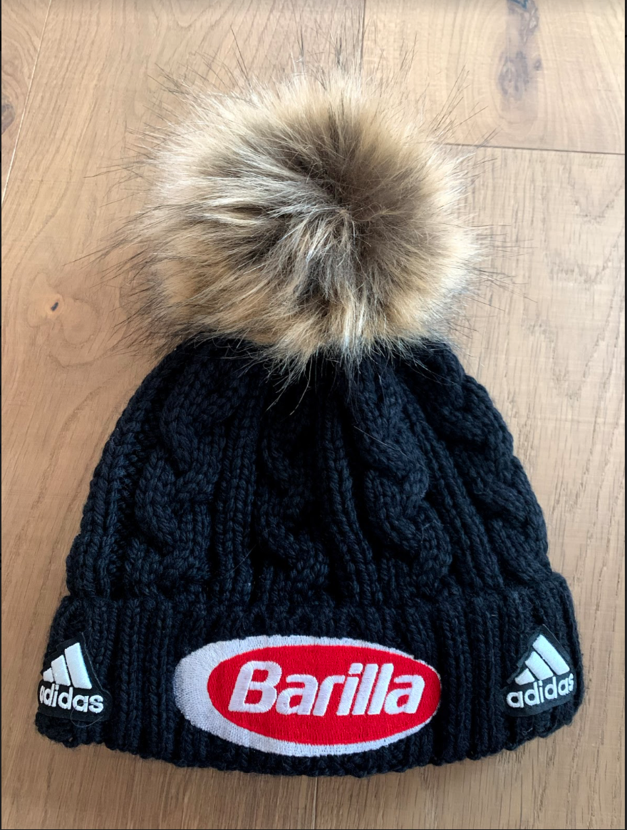 2. custom adidas  xbarilla  beanie with pom