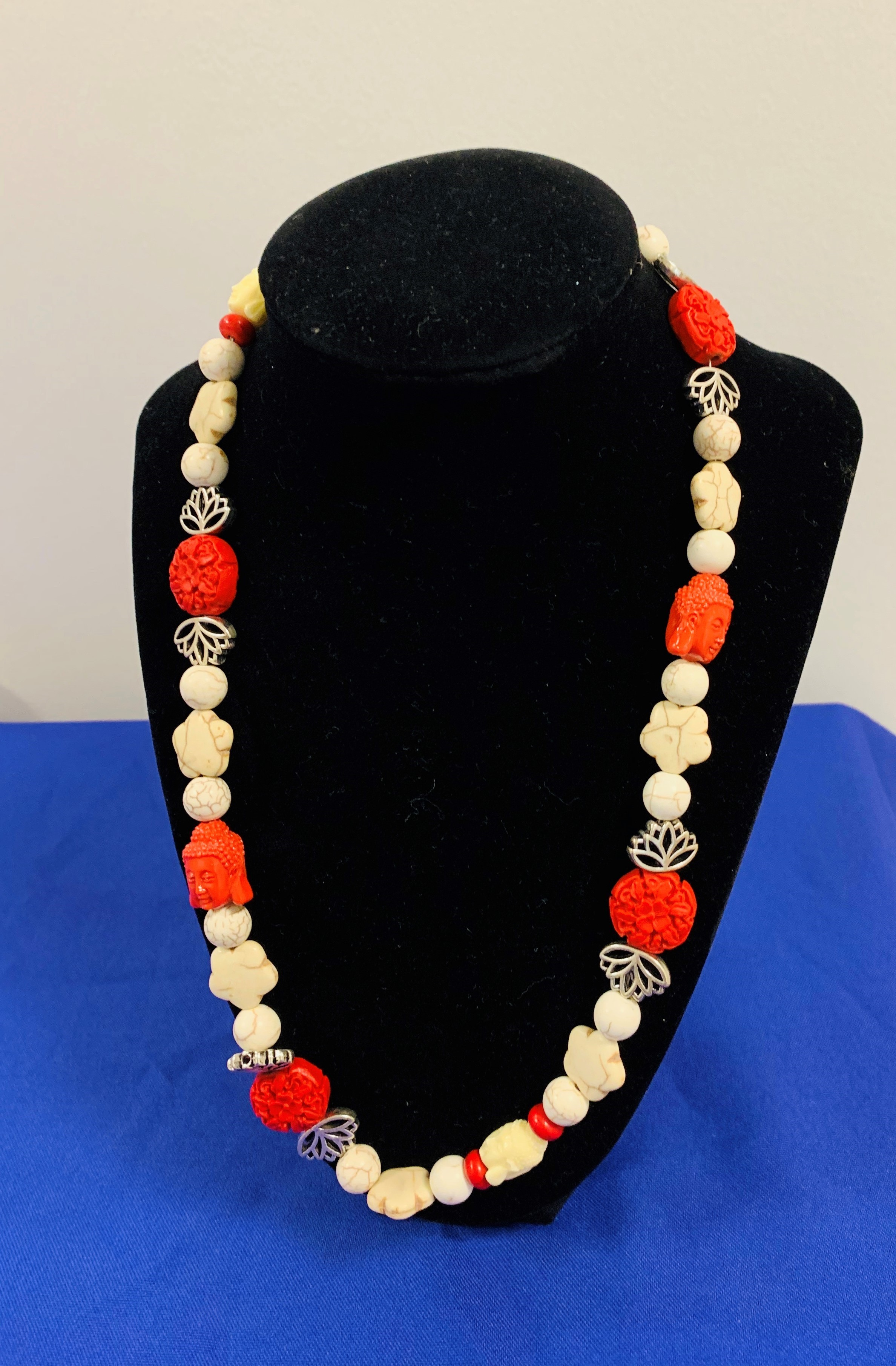 Red beige   silver necklace