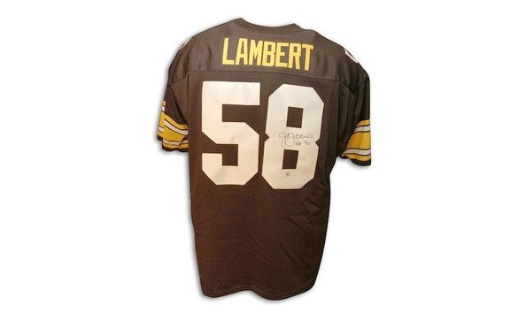 27d6394ed Autographed Jack Lambert Pittsburgh Steelers Throwback black Jersey HOF  inscription